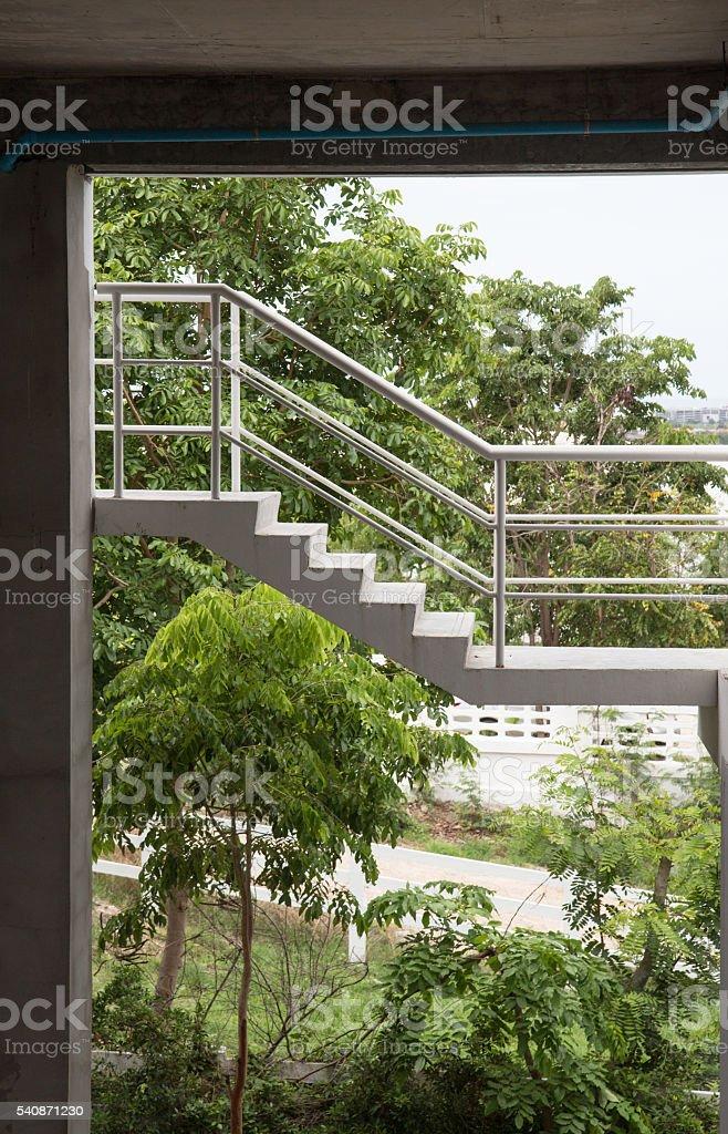 white railing staircase,outdoor apartment Стоковые фото Стоковая фотография