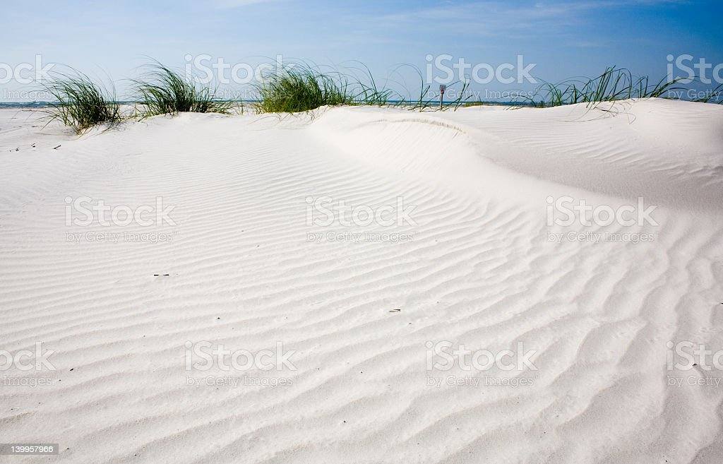 White raked sand on a beach with plants in the background stock photo