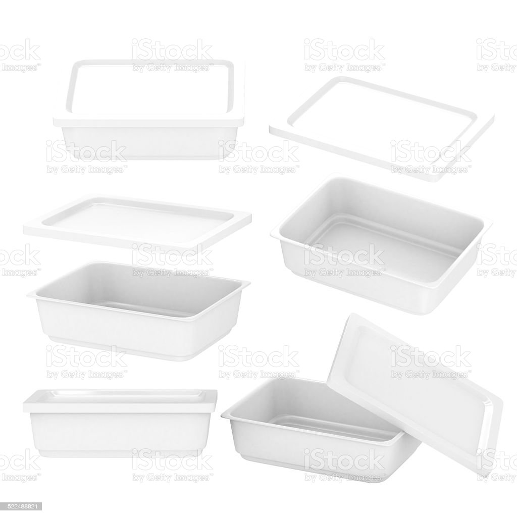 White  rectangle plastic container for food production with clipping path stock photo