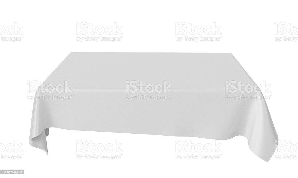 White rectangular rounded tablecloth set isolated on white stock photo