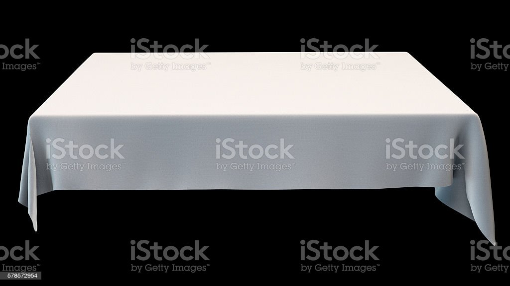 White rectangular tablecloth mockup isolated on black. 3d illustration. stock photo
