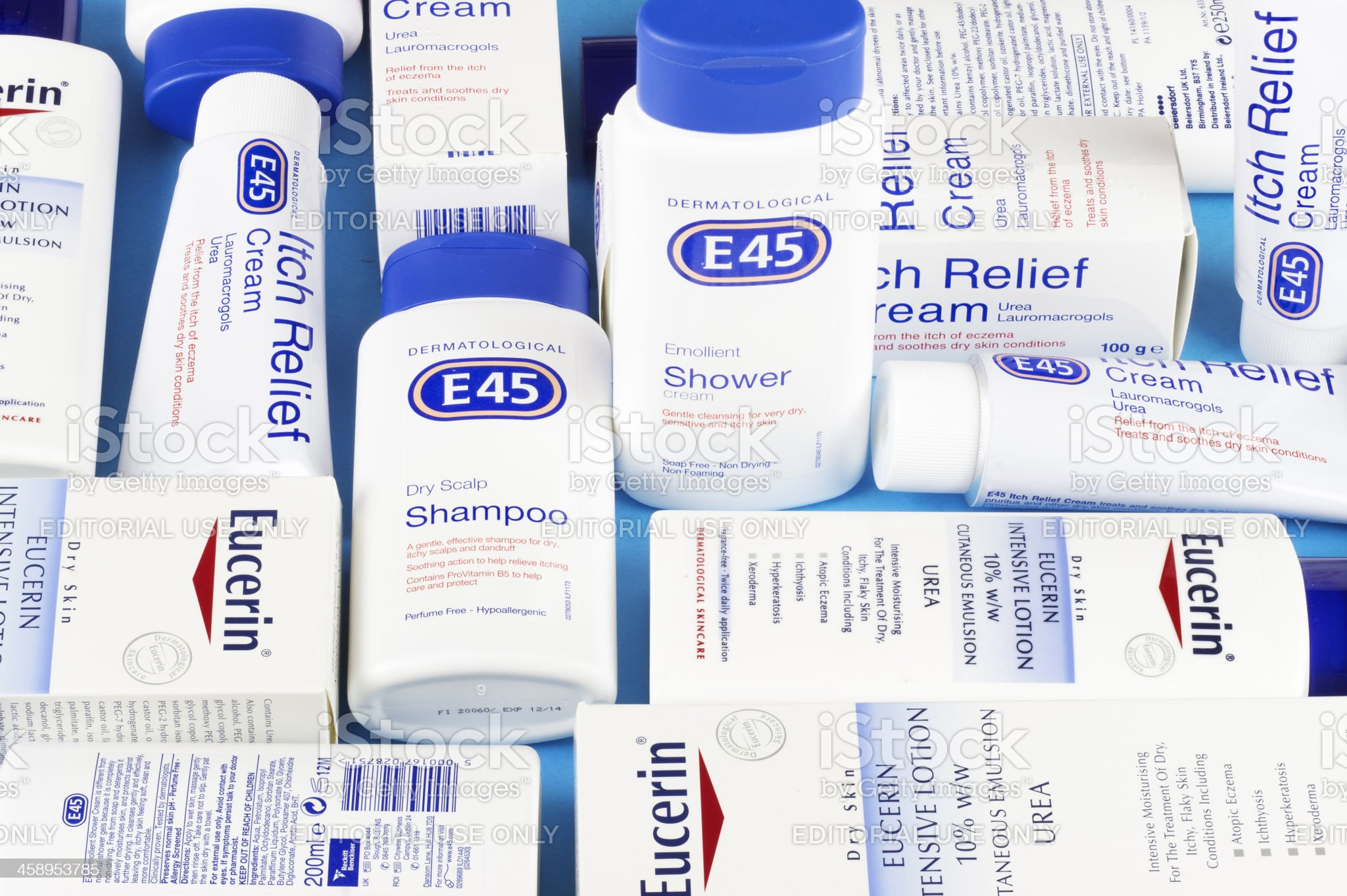 White, red and blue colours in British skincare: E45, Eucerin royalty-free stock photo
