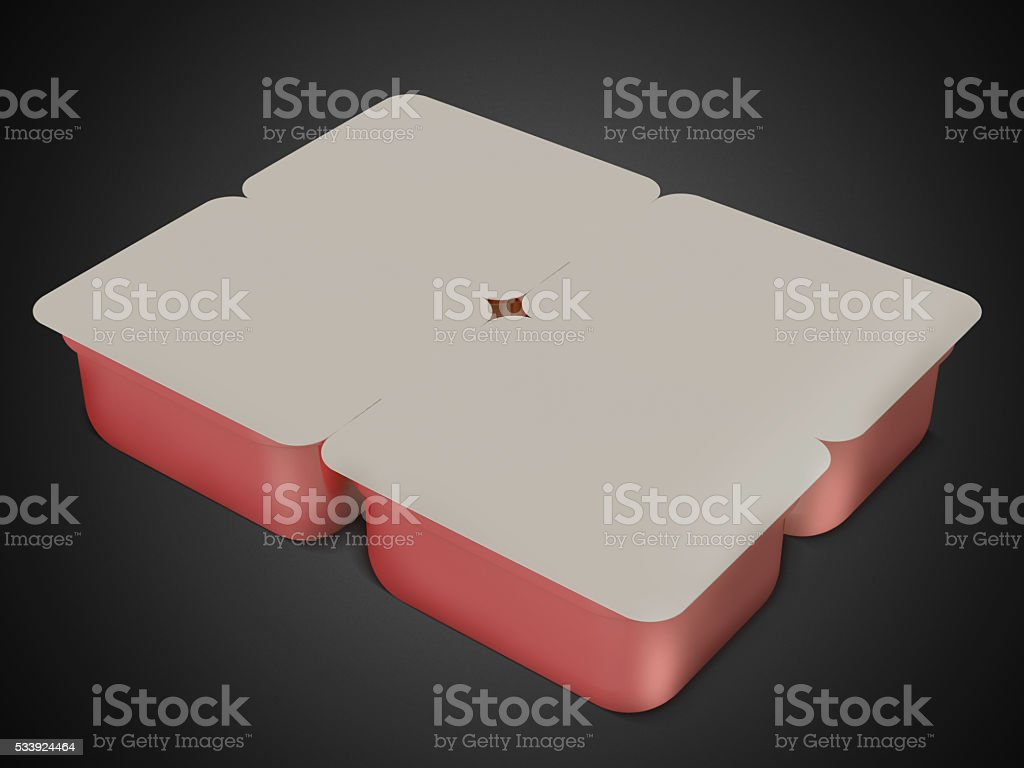 White/ red plastic blank bank for food, oil, mayonnaise, margarine stock photo