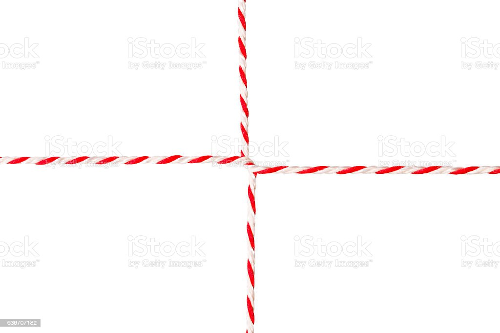 White Red Rope, Postal Envelope Cord, Wrapped Twine Ribbon, Isolated stock photo