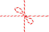 White Red Rope Tied Bow, Postal Ribbon, Isolated Twine Cord