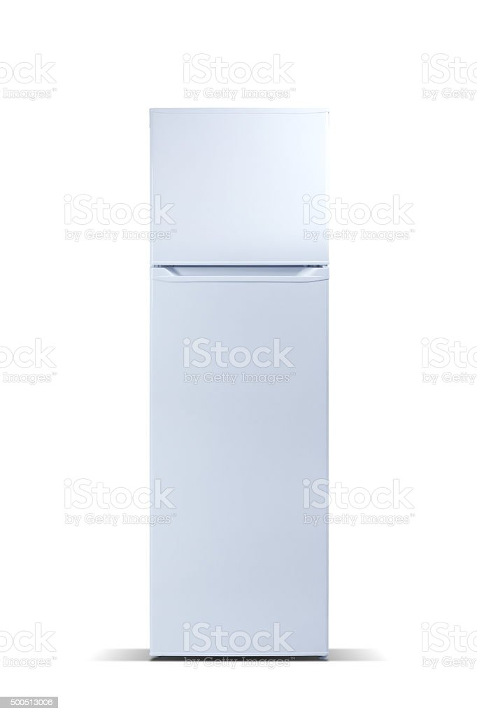 White refrigerator isolated on white, fridge freezer stock photo