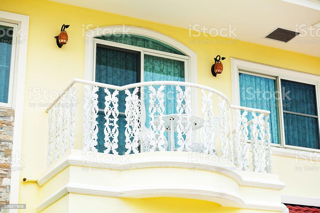 White reiling of balcony in Bangkok stock photo
