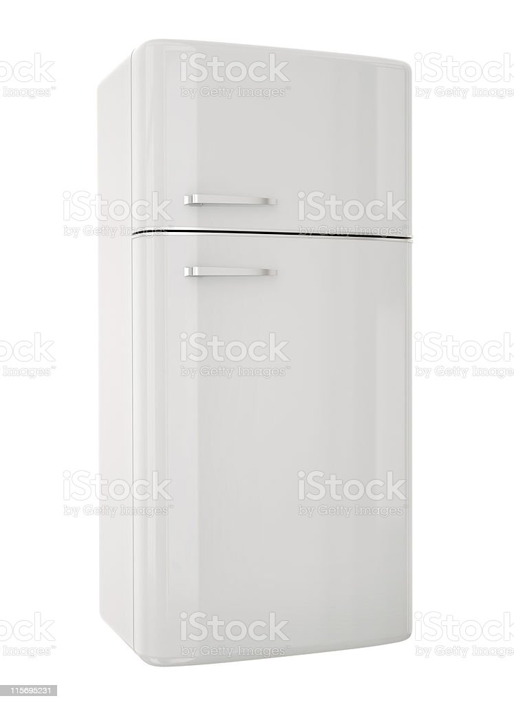 White retro fridge on a white background stock photo