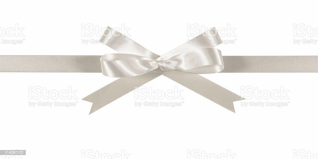 White ribbon and bow stock photo