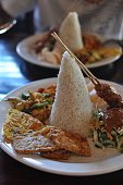 White rice and dishes of Indonesia