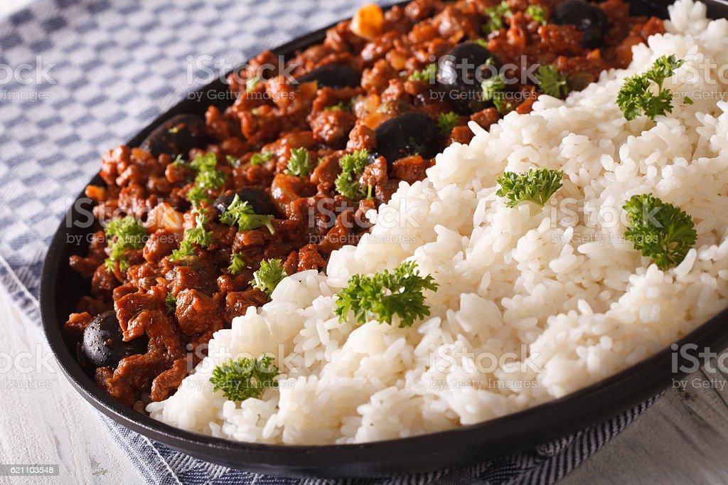 White rice and Picadillo a la habanera close-up. horizontal stock photo