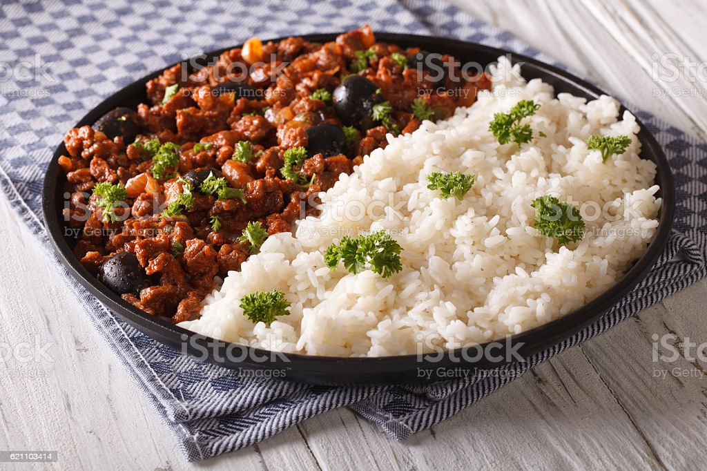 White rice and Picadillo a la habanera close-up stock photo