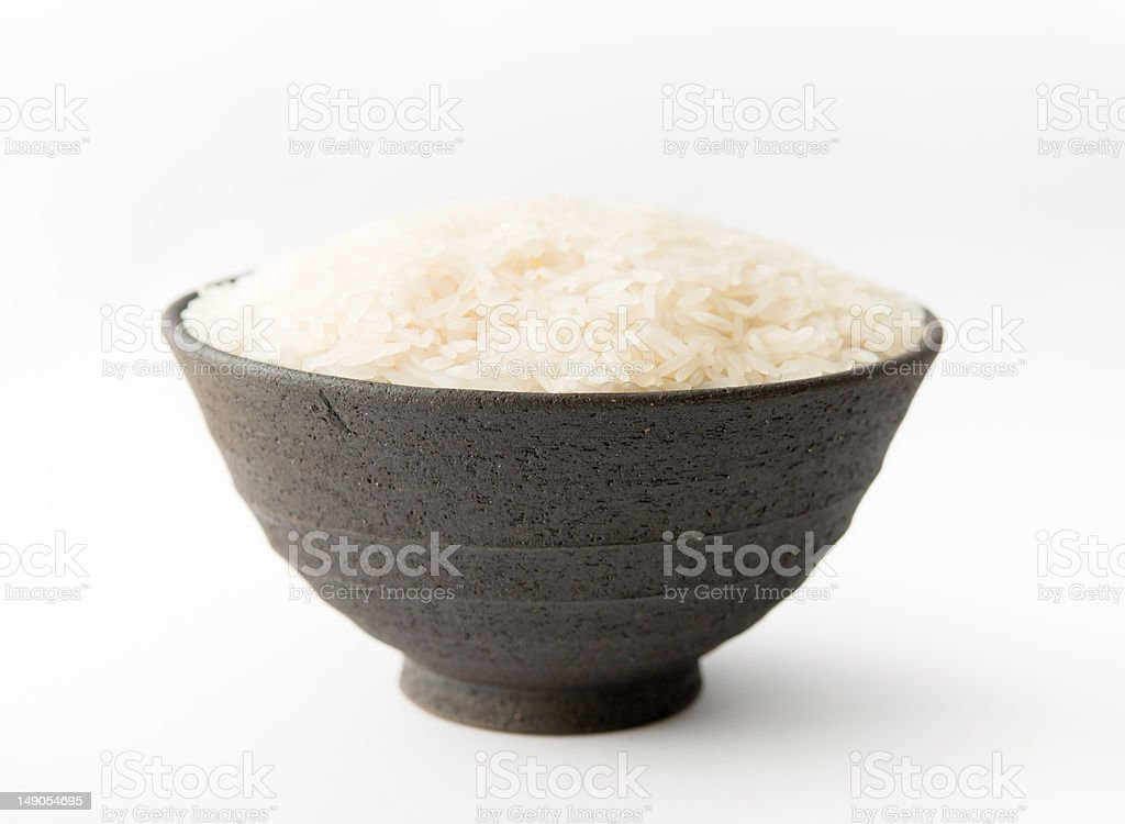 White Rice in Clay Bowl stock photo