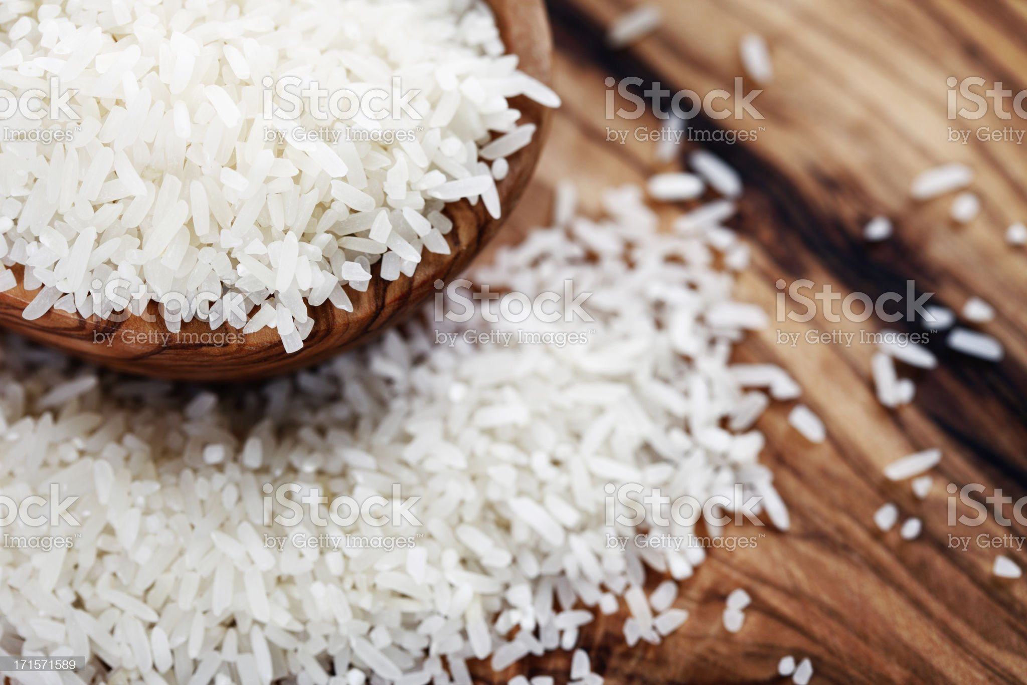White Rice in Wooden Bowl royalty-free stock photo