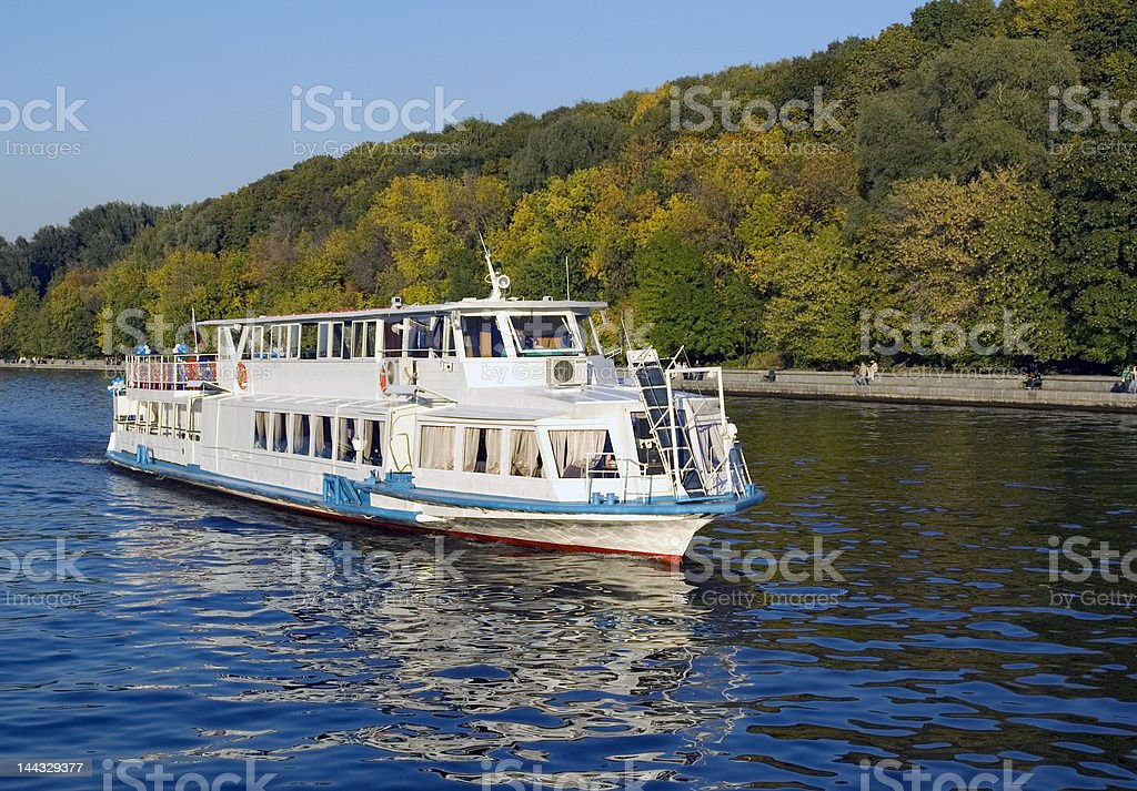 white river boat indian summer early atumn stock photo