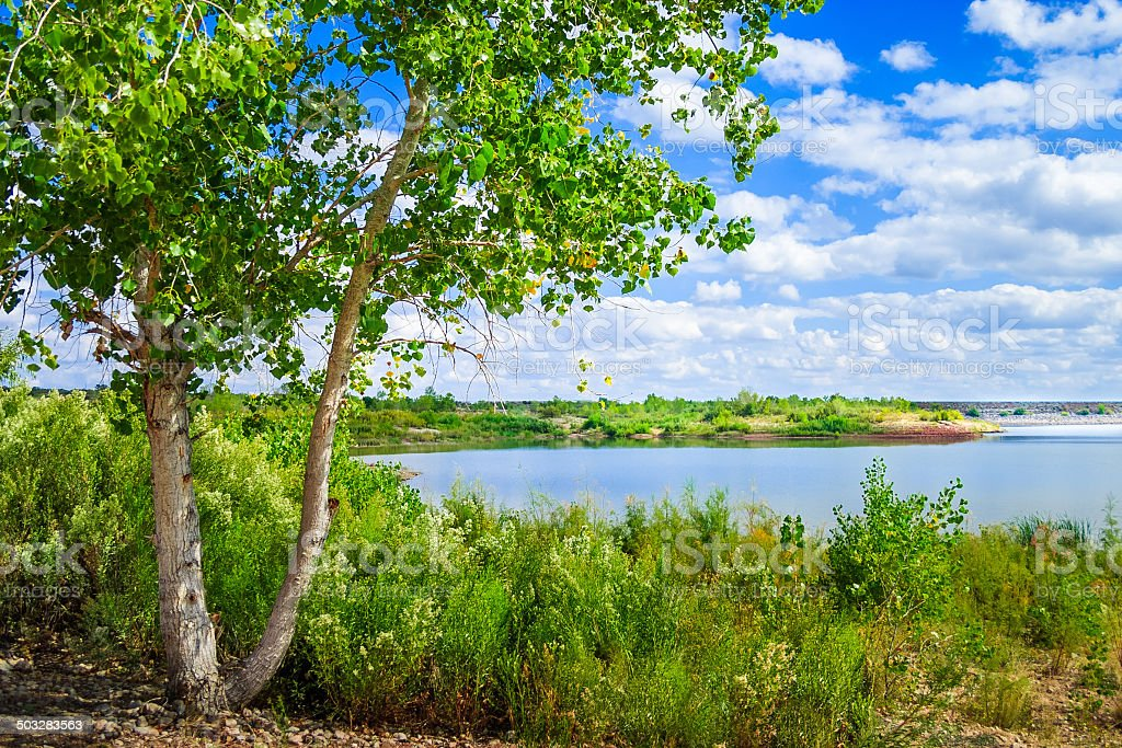 White River Lake summertime, near Spur Texas stock photo