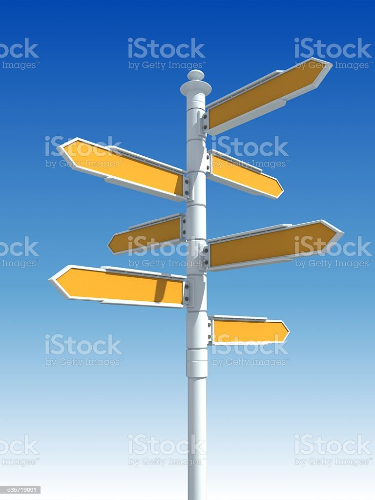 white road signs stock photo