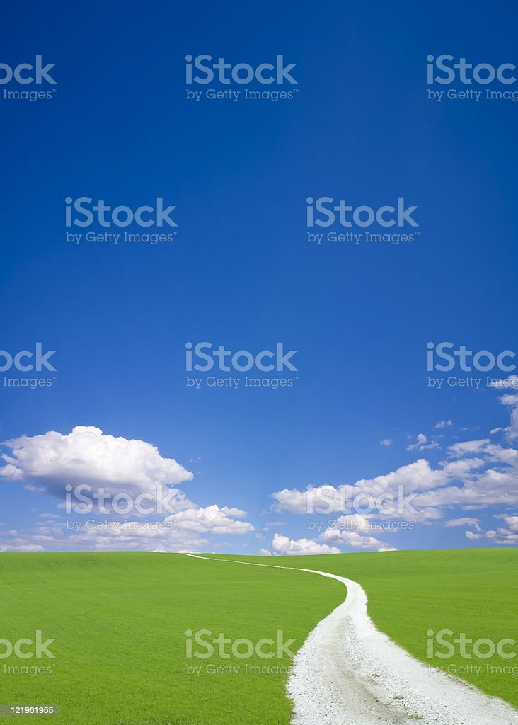 White road to hill royalty-free stock photo