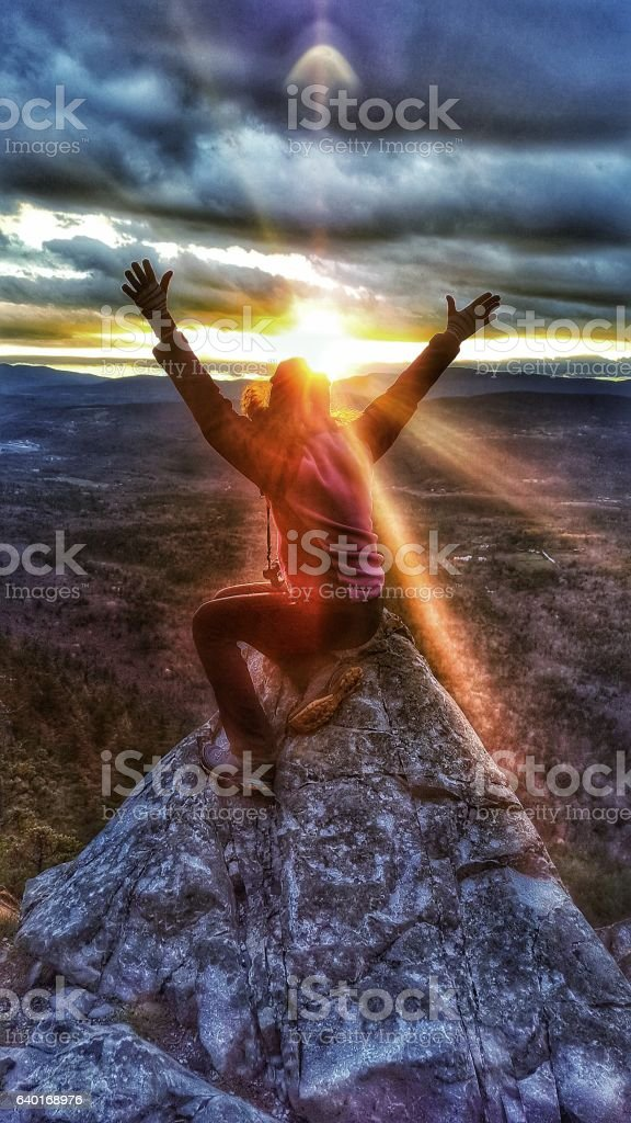 White Rocks Landslide Cliff Peak Female Silhouette Watching Sunset, Vermont stock photo