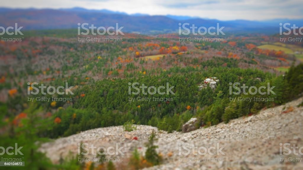 White Rocks Landslide Trail Cliff  Summit Sunset Vermont, Fall Foliage stock photo