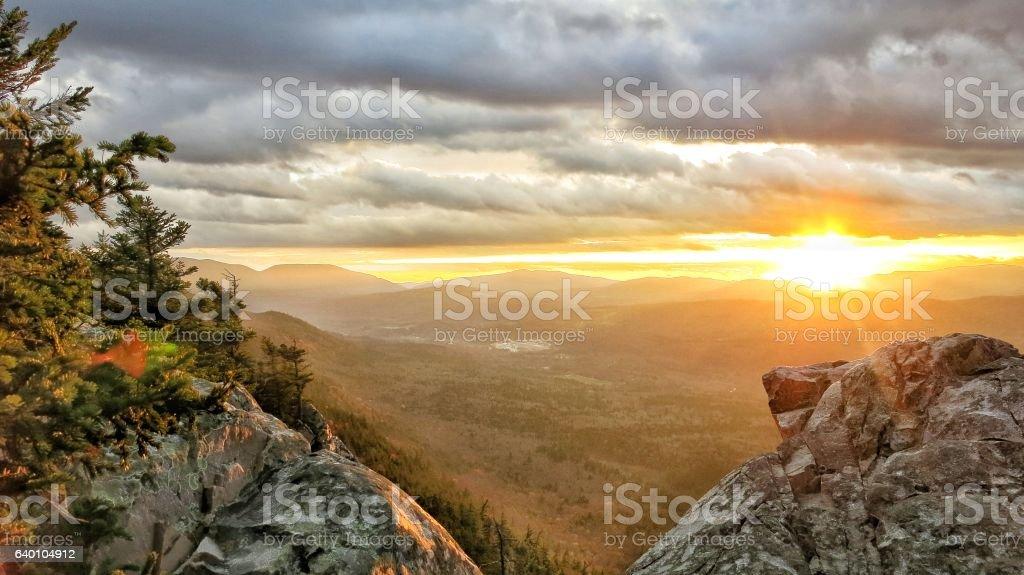 White Rocks Landslide Trail Cliff  Summit Sunset Vermont, Fall Foliage stock photo