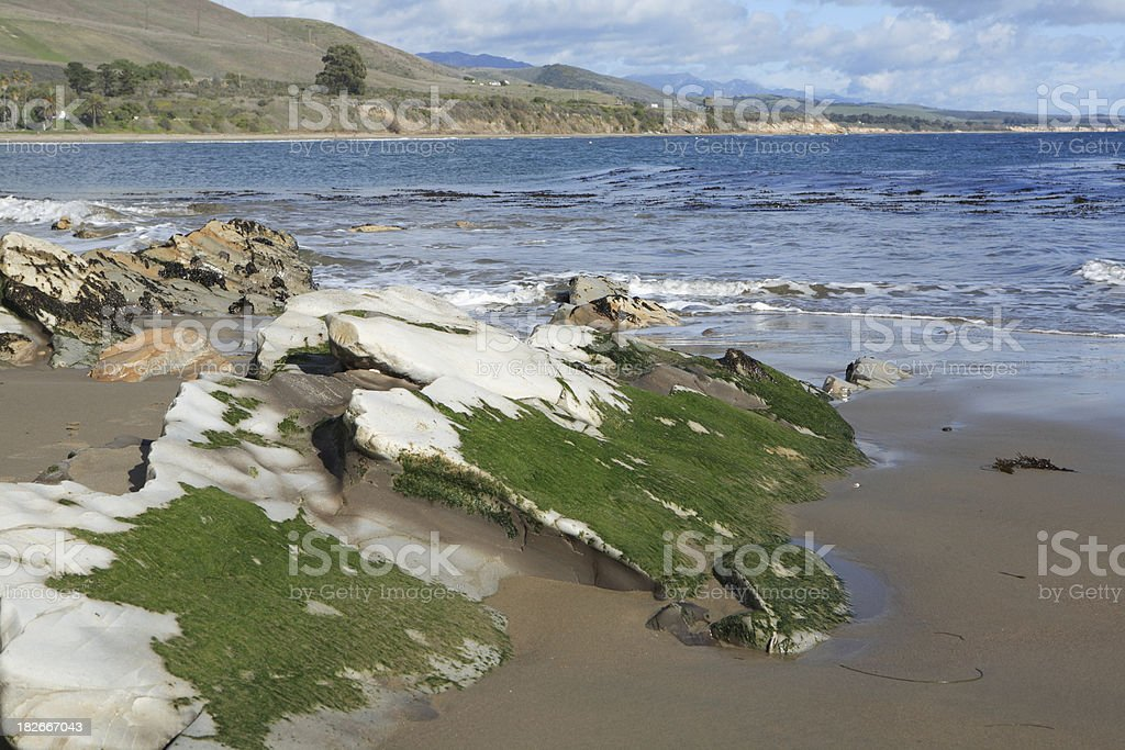 white rocky outcropping on the beach royalty-free stock photo