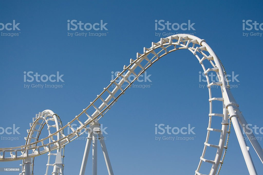White Rollercoaster Loops Against a Clear Blue Sky royalty-free stock photo