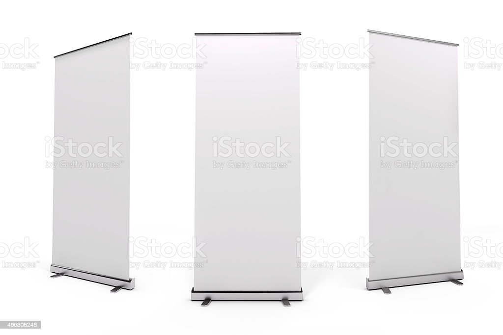 White roll-up banner from three angles stock photo