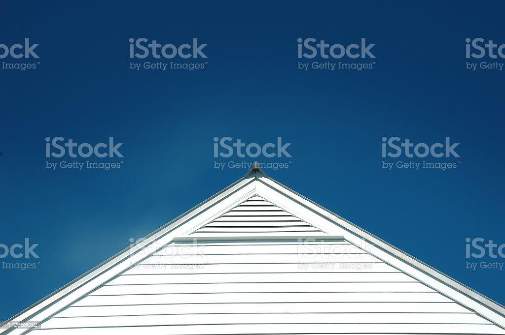 White roof, blue sky stock photo