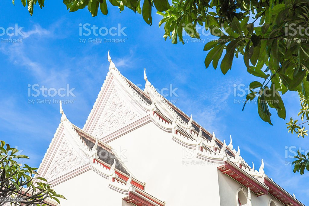 White roof of the temple in Thailand. stock photo