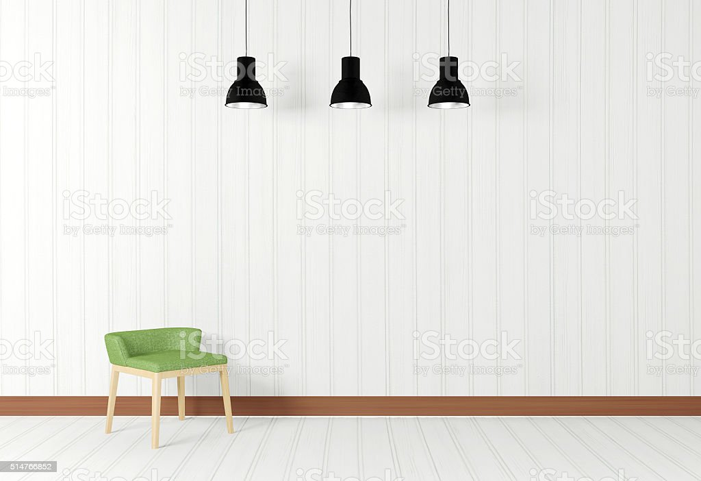 White room interior in minimal style with chair stock photo
