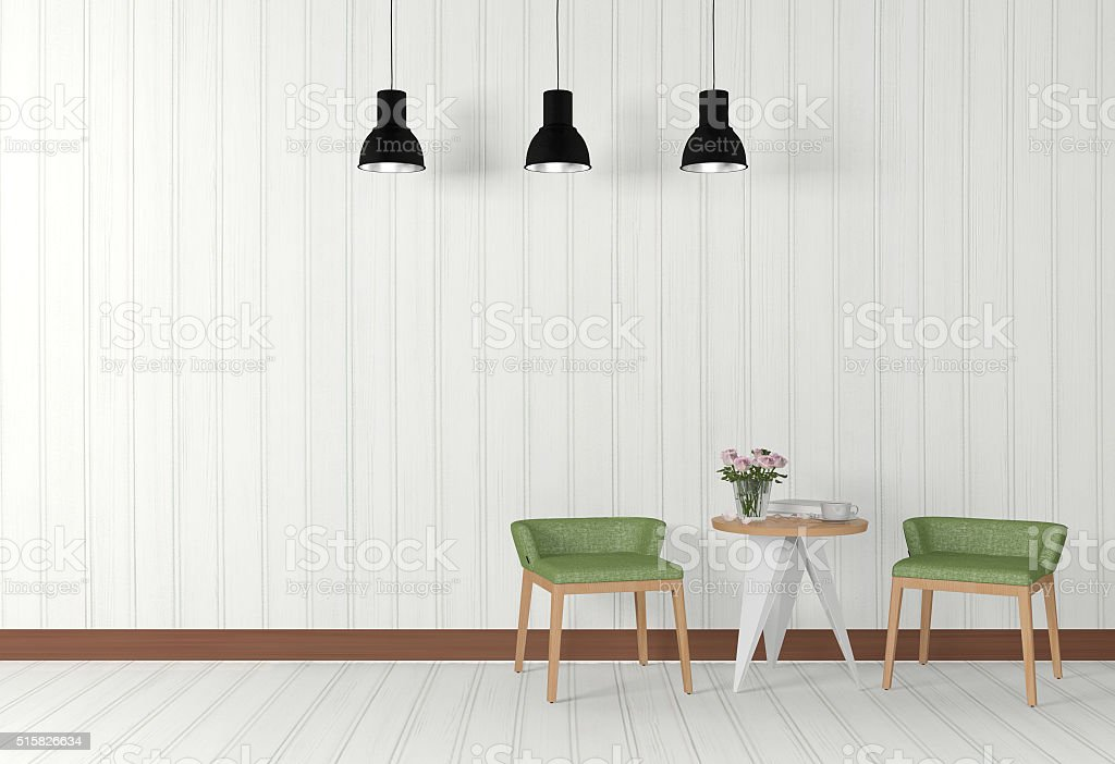 White room interior with modern furniture stock photo