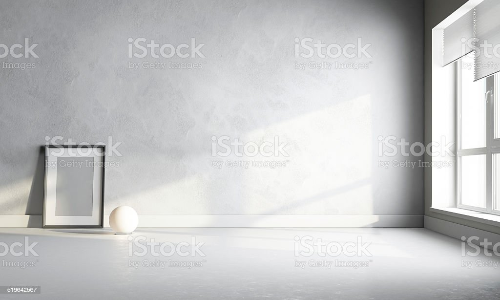 white room with frame stock photo