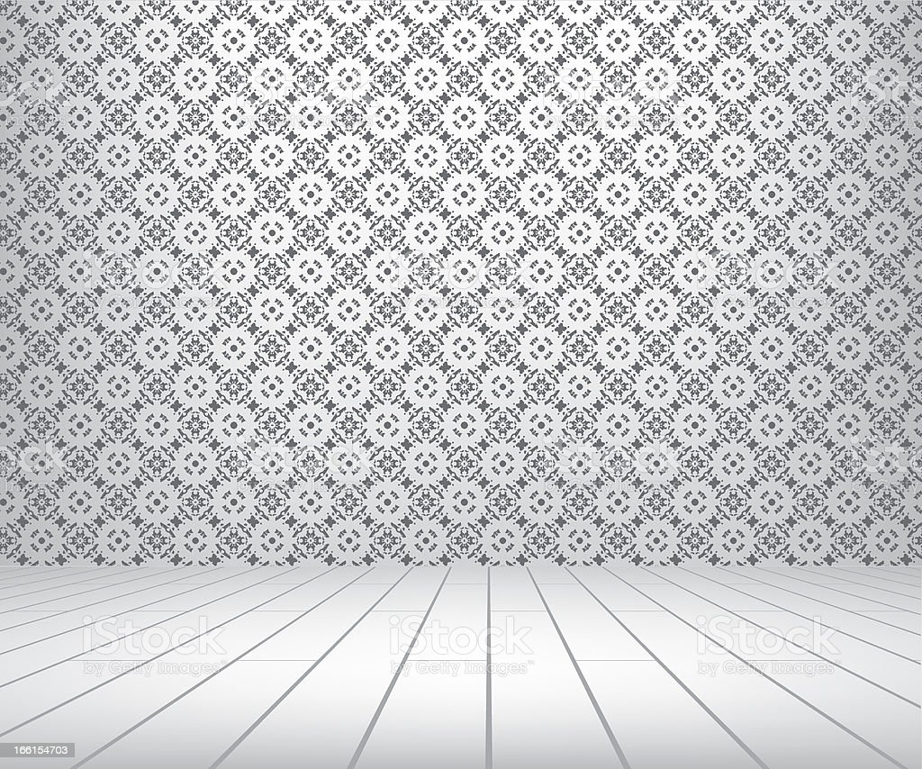White room with pattern wall and wooden floor royalty-free stock photo