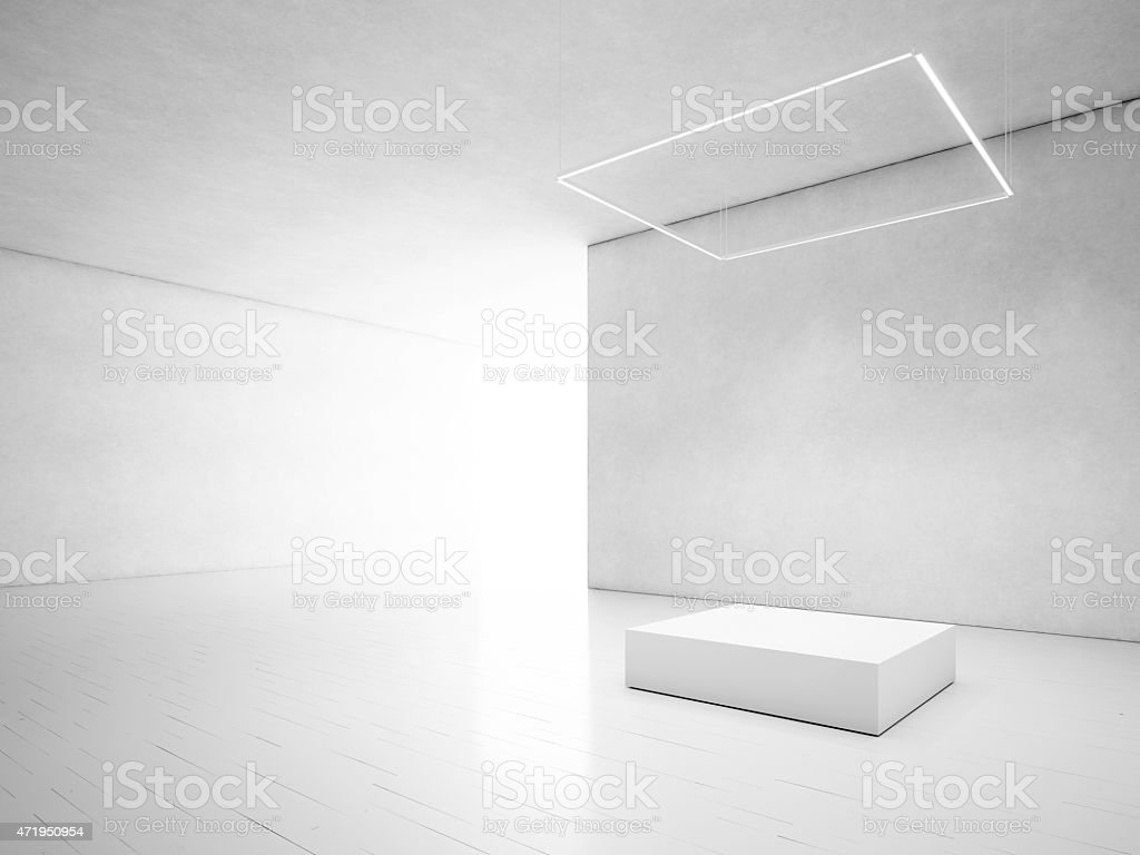 White room with podium stock photo