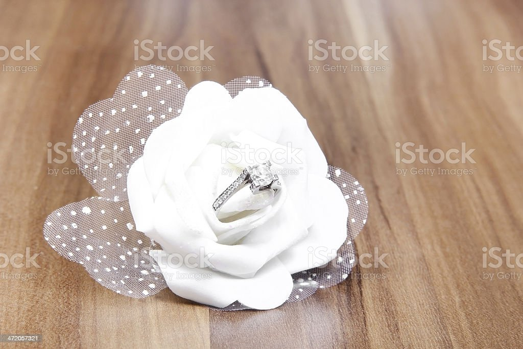 White Rose and Diamond stock photo