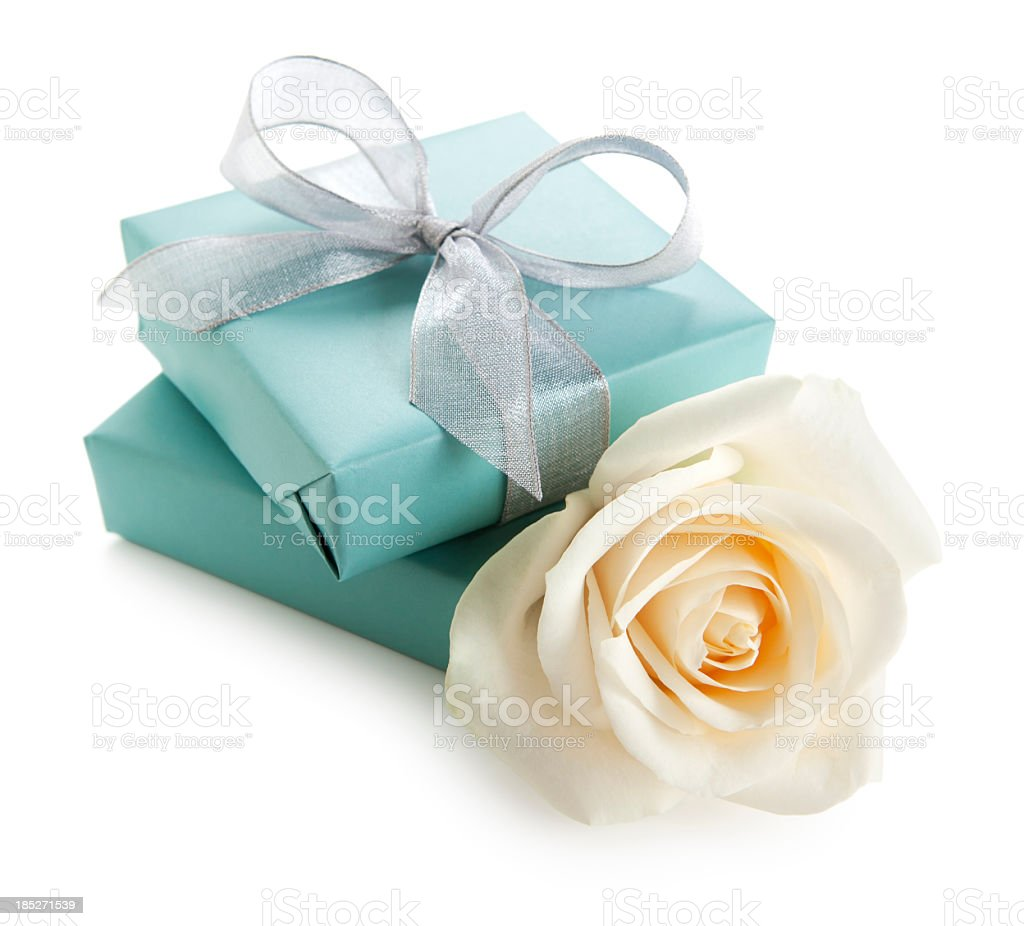 White rose and gift boxes royalty-free stock photo