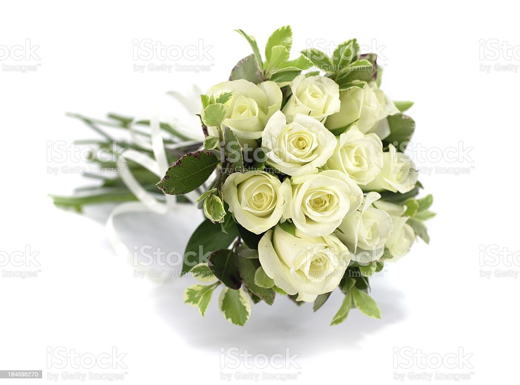 White rose flower bouquet or wedding posy on isolated background royalty-free stock photo