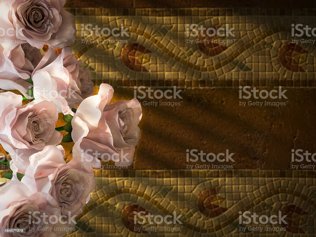 white roses on ancient wall decorative background stock photo