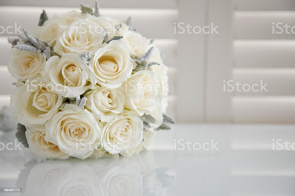 White Roses with Copy Space stock photo