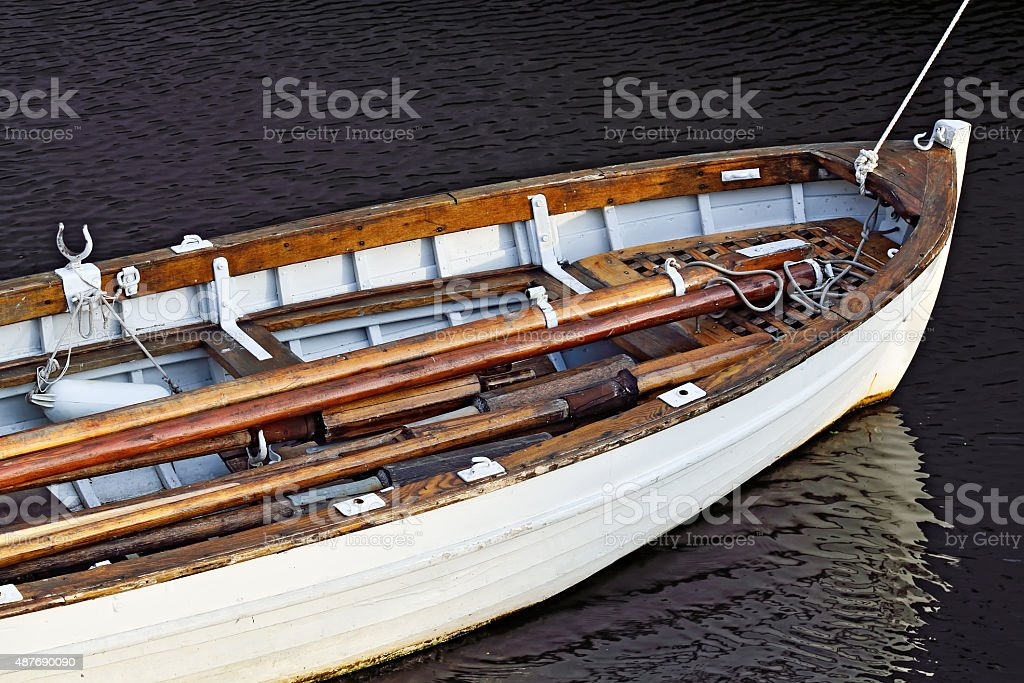 White rowing boat stock photo