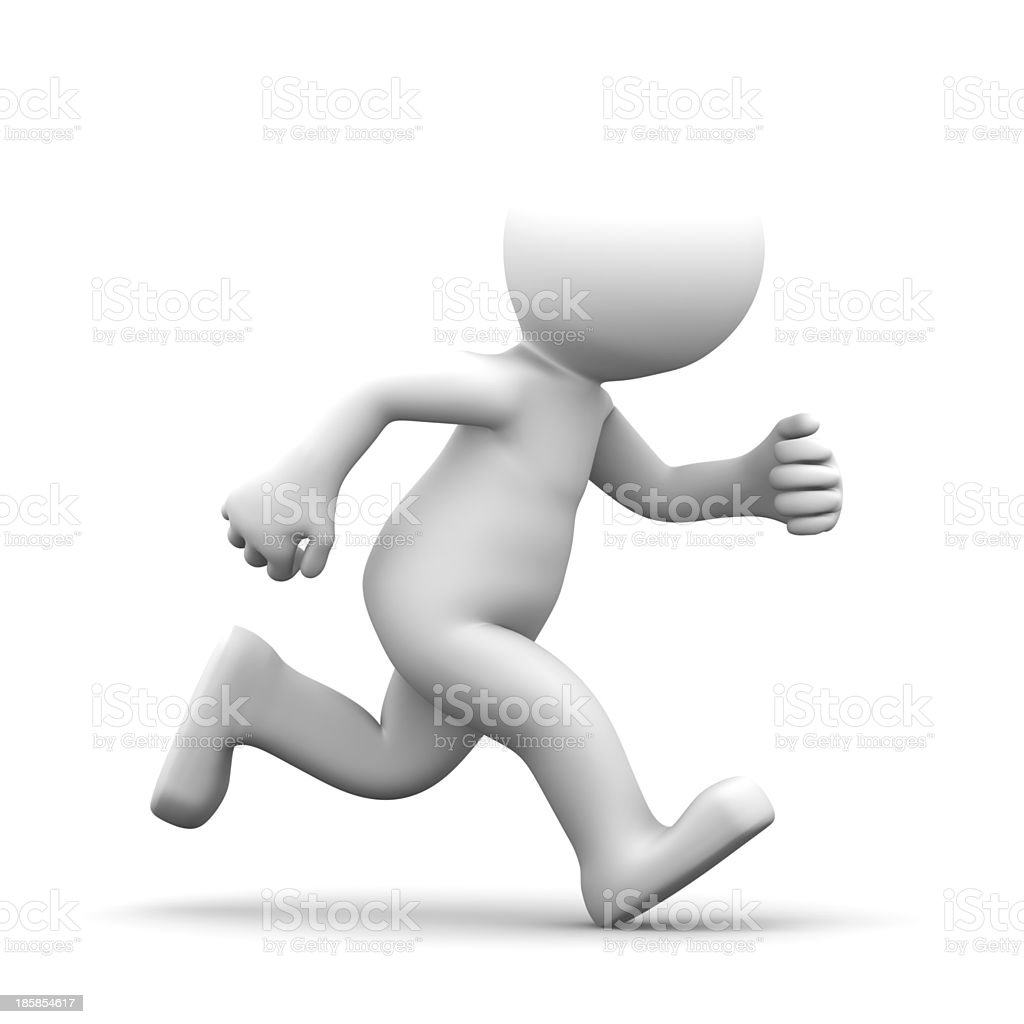 A white running 3d puppet in white background stock photo
