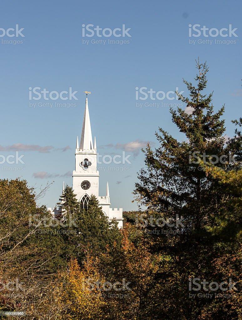 white rural church stock photo