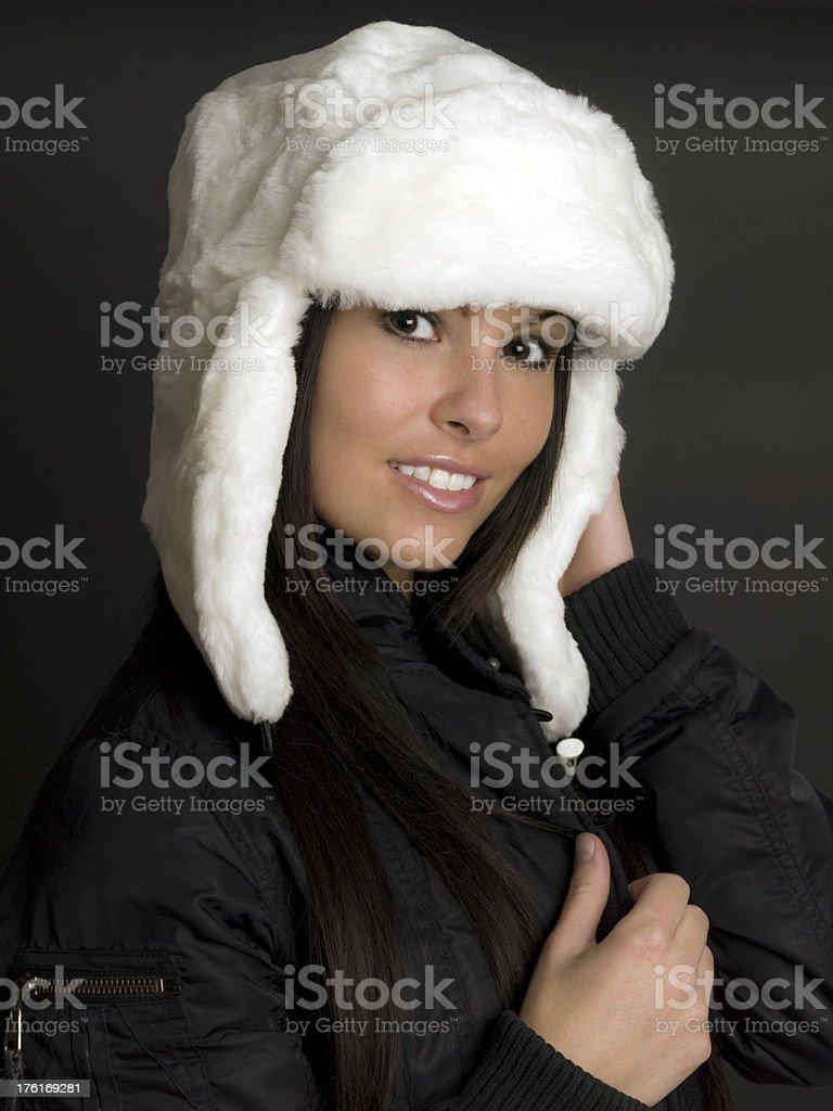 White Russian Ushanka Mouton Hat royalty-free stock photo