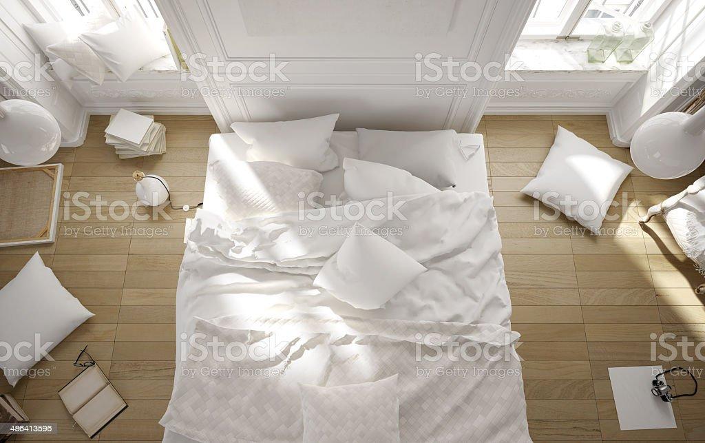 White rustic bedroom stock photo