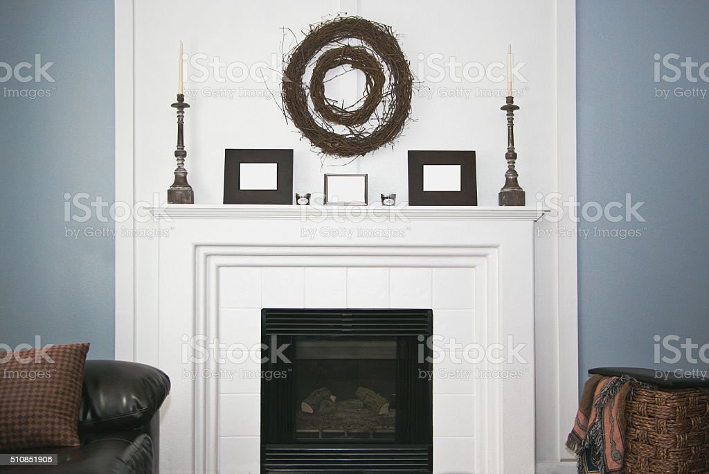 White Rustic decorated Fireplace and Mantel stock photo
