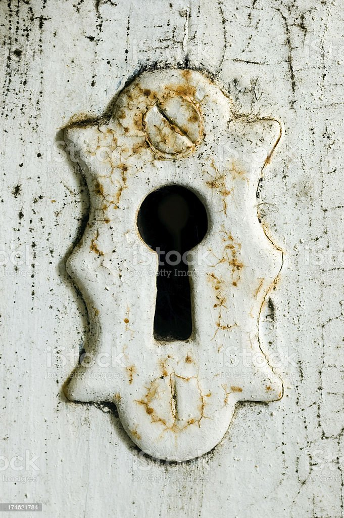 White rusty keyhole royalty-free stock photo