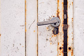 White Rusty metal door