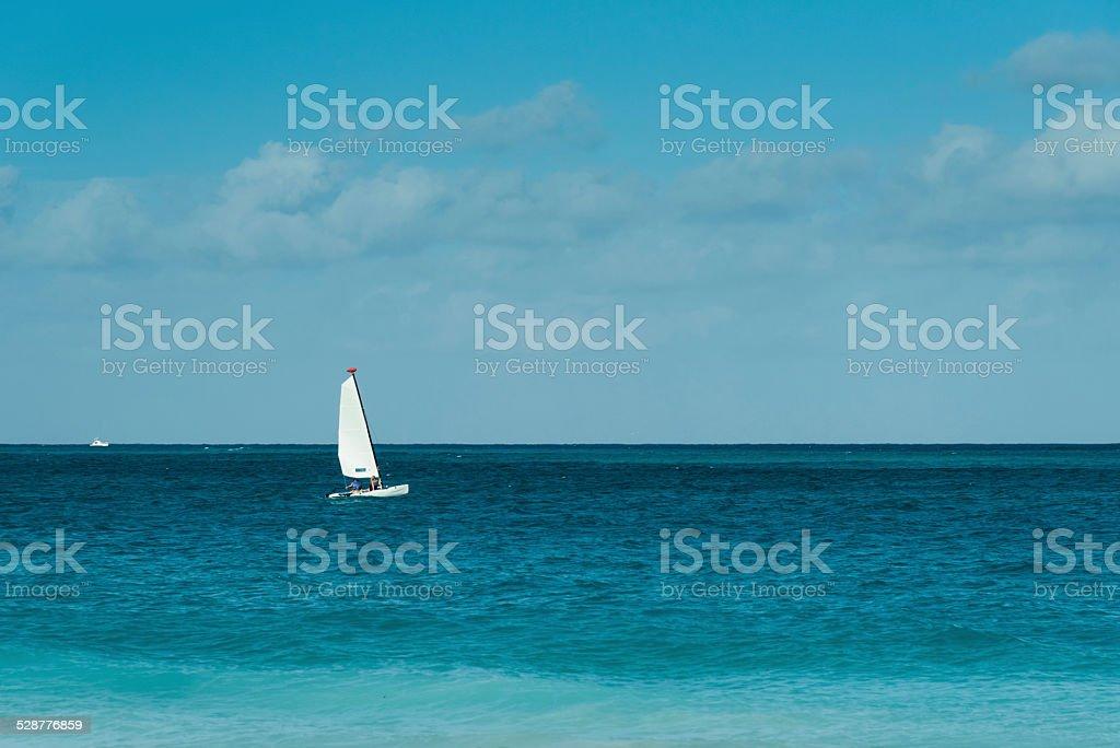 White sail stock photo