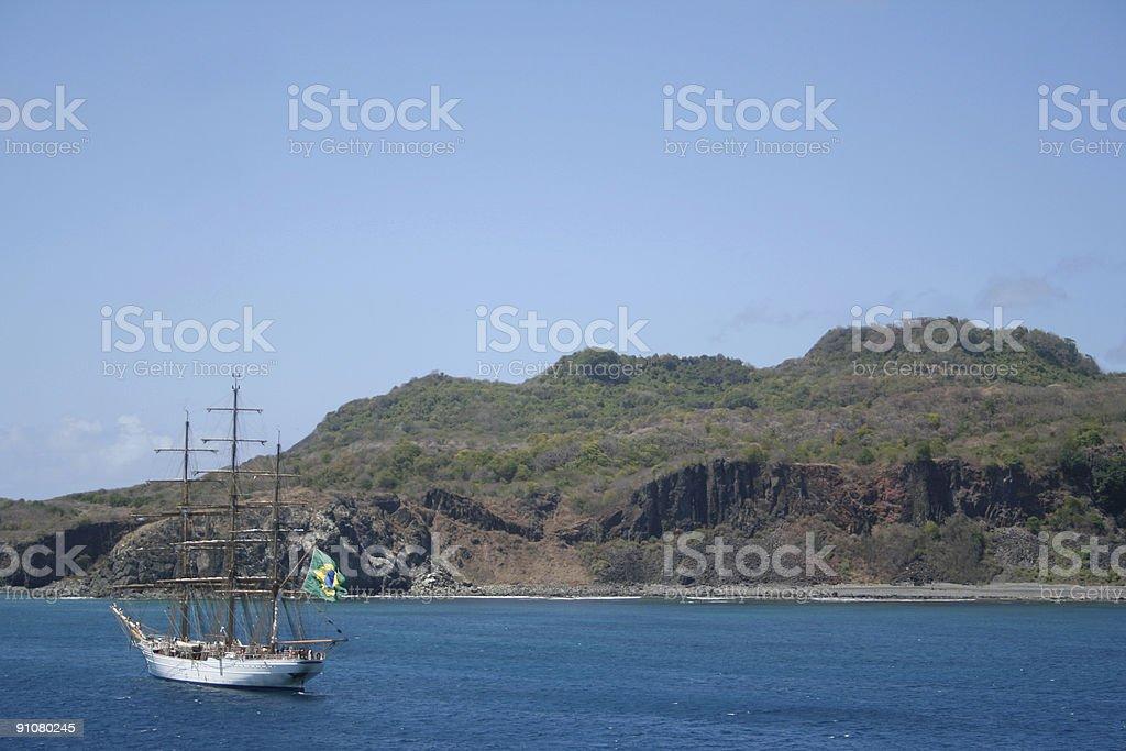 White Sail Ship royalty-free stock photo